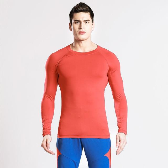 bec791476b Compressão Manga Longa Execução Homens Da Camisa Do Esporte Ginásio Jogging  Ternos de Fitness Musculação Undershirt