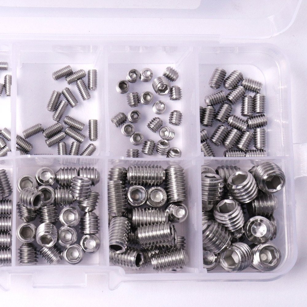 High Quality 200pcs/Set Stainless Steel Allen Head Hex Socket Set Screws Grub Screw Cup Point Assortment Kit 200pcs 304ss m3 m4 m5 m6 cone point allen head hex socket screws assortment kit