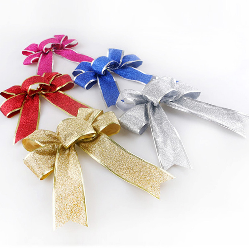 10pcs glitter gold silver christmas knots christmas tree ornament cute flowers bow knots in hot pink red birthday party decor