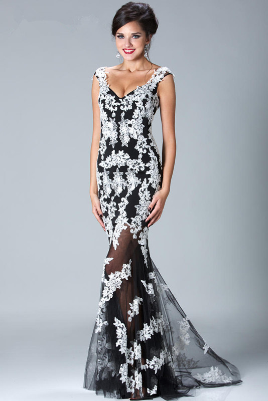Online Buy Wholesale black white evening gown from China black ...