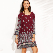 Plus Size O-neck Print Dress Women For Autumn 2019 Vintage Boho Dresses