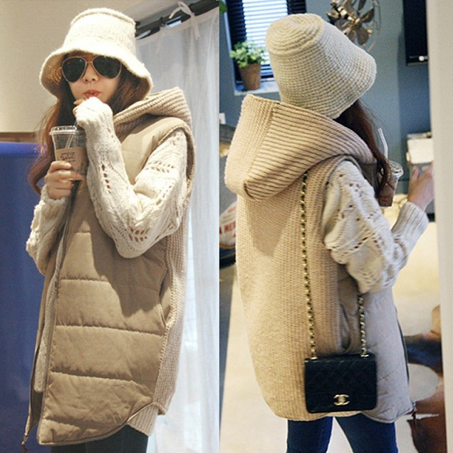 8923 maternity clothing vest female autumn and winter sleeveless wadded jacket vest with a hood cotton-padded jacket plus size maternity clothing top with a hood medium long thickening cardigan autumn and winter plus size outerwear female sweater