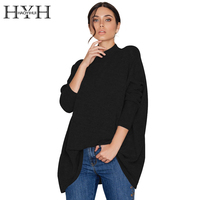 HYH HAOYIHUI Solid Black Turtleneck Women Knitted Sweaters Casual Long Sleeve Oversize Pullovers 2017 Autumn Winter