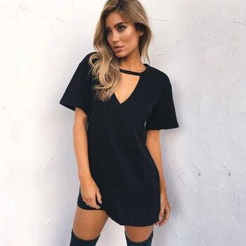 LASPERAL 2018 Sexy V Neck Cotton Summer Dresses Female Solid Casual Loose Dress Women A-Line Mini Vestidos Plus Size 3XL 1