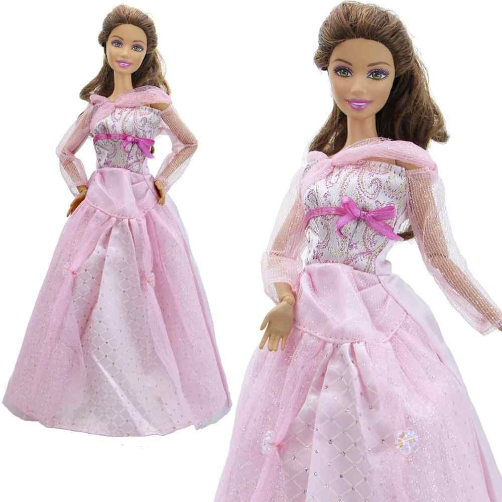 1Pcs Handmade Gaun Pernikahan Pesta Makan Malam Memakai Seksi Renda Gaun Putri Merah Muda Ikatan Simpul Rok untuk Boneka Barbie 12 ''aksesoris Mainan
