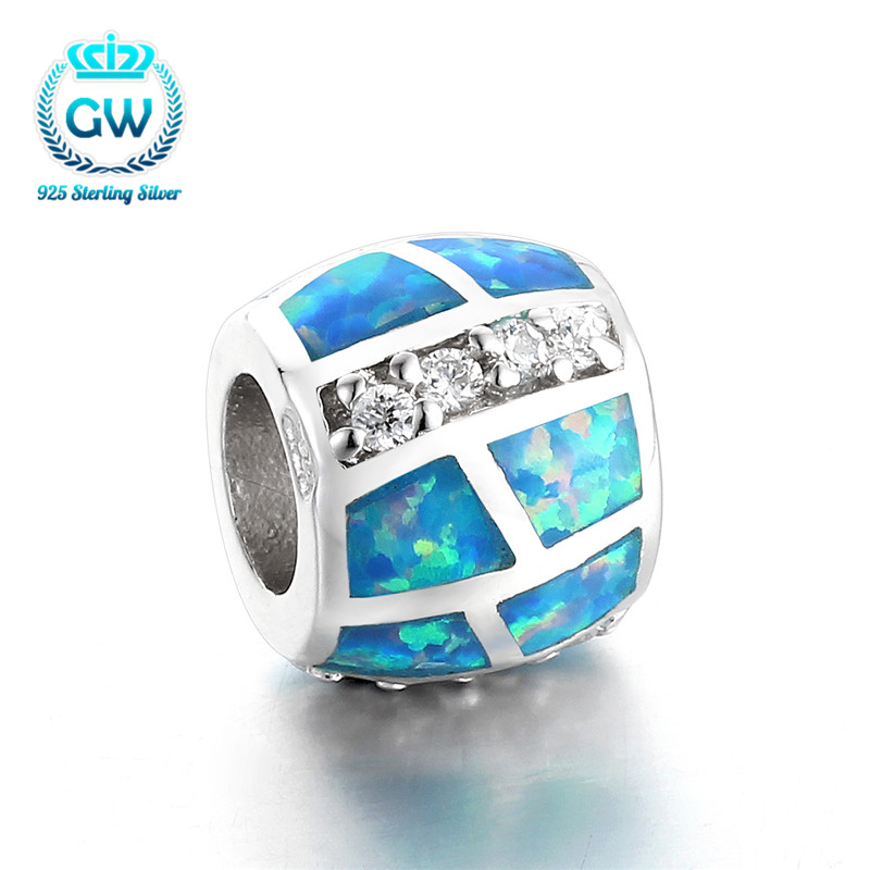 New 925 Silver Pave Stone Bead Opal Beads For Charm Bead Bracelet Jewelry Making Brand Gw Jewellery Fx001-90