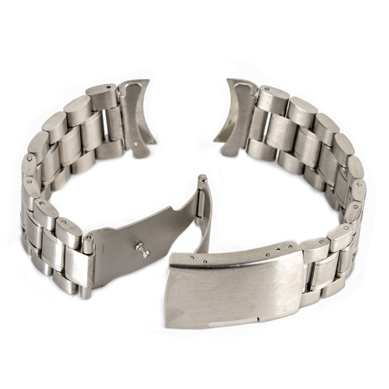 Shellhard 18/20/22/24mm Curved End Watch Band 3 Colors Stainless Steel Wristwatch Strap Double Fold Deployment Clasp Bracet