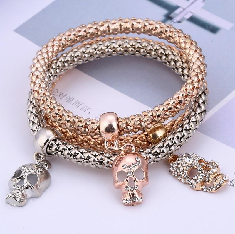 Hesiod 3PCS/lot Luxury Crystal Charms Skull Bracelets Popcorn Chain Jewelry Women Bracelets & Bangles Rose Gold Silver Pulseira