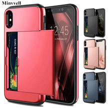 Armor Slide Card Case For iPhone X XS MAX XR 7 8 Plus 6 6S Card Slot Holder Cover For Samsung S9 S8 Plus S7 S6 Edge Note 9 Cases(China)