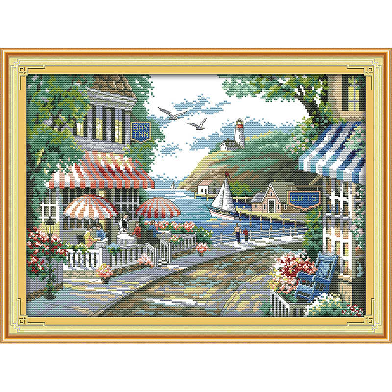 Everlasting love Christmas The seaside cafe Ecological cotton Cross Stitch 11CT 14CT stamped Printed DIY gift Wedding decoration