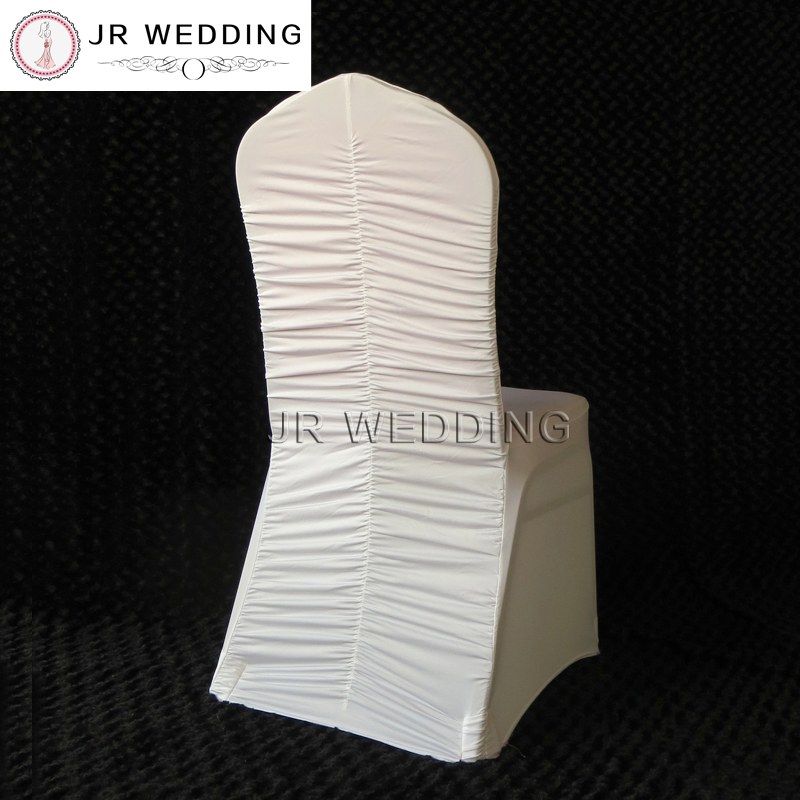 ruched spandex chair cover ergonomic guidelines 100pcs white lycra at middle back ruffled for wedding decor