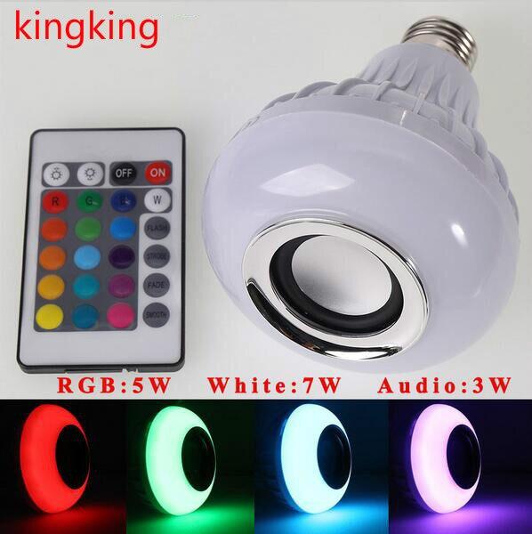 DHL Gratuit Shipping50 pcs E27 LED RVB Bluetooth Haut-Parleur Ampoule Sans Fil 12 W Musique Lumière Lampe