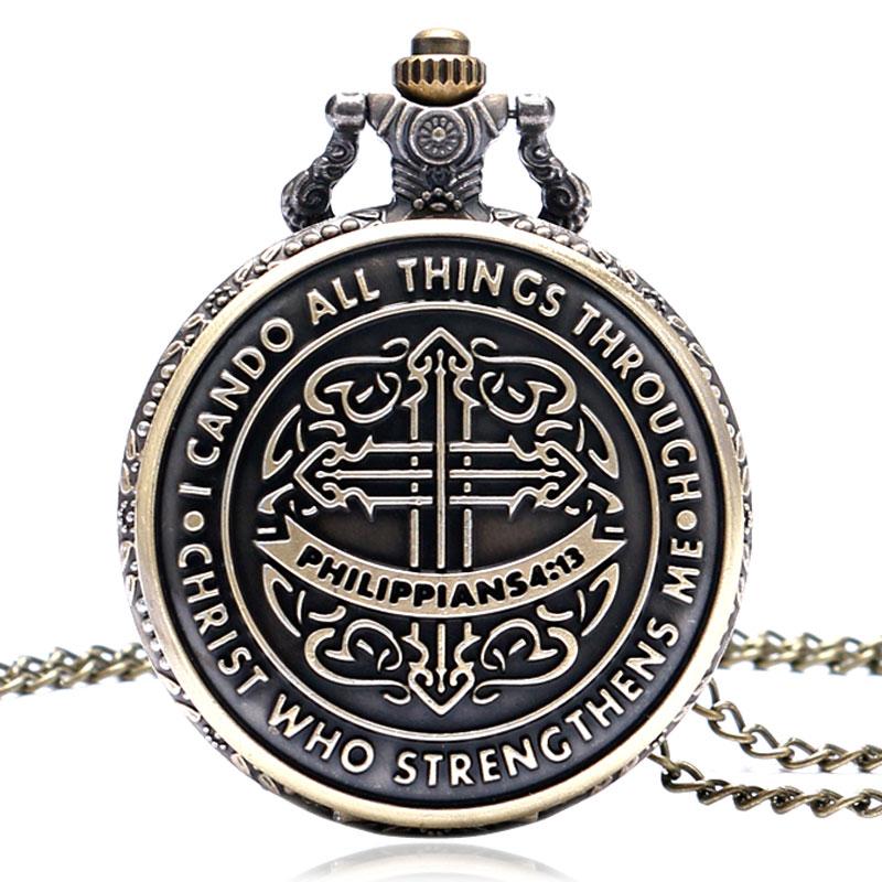 Philippians 4:13 Bible Christian Religious Gifts Quartz Pocket Watch Retro Fashion Necklace For Women Men Chain Relogio De Bolso