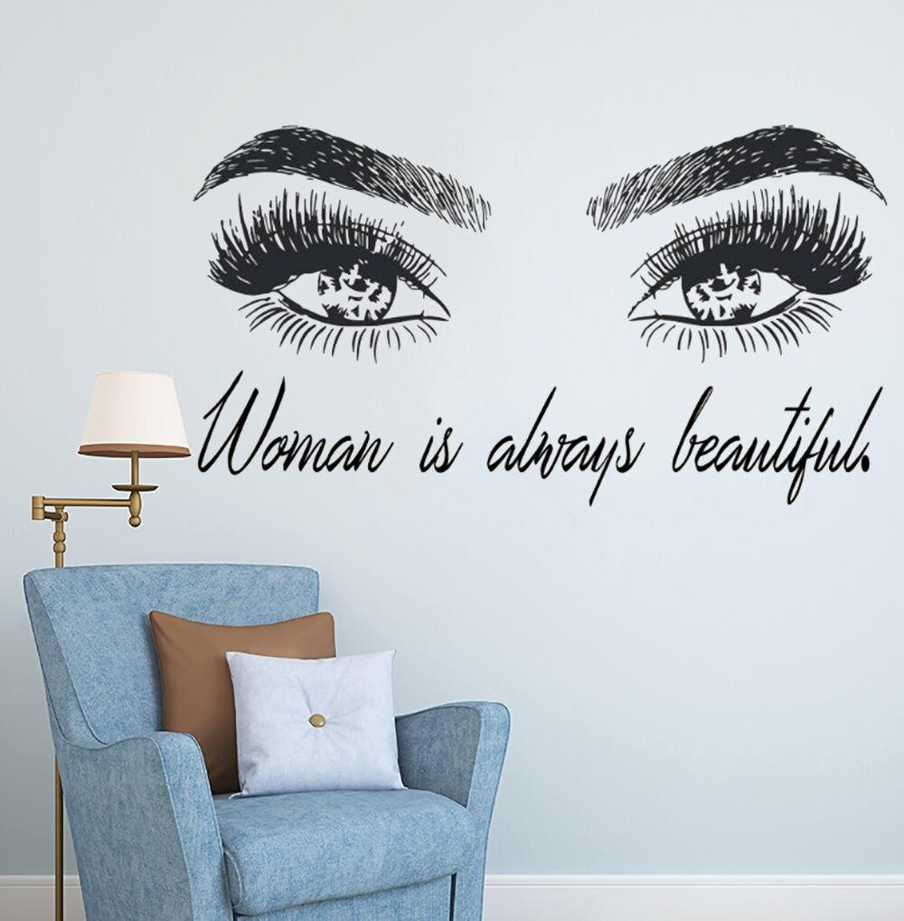 Mulher maquiagem adesivo de parede olho cílios decalque da parede cílios extensões beleza loja decoração sobrancelhas sobrancelhas mural beleza presente ay1083