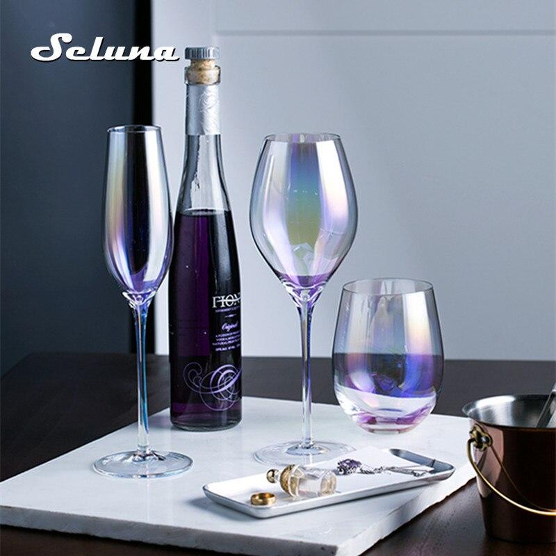 Arco-íris chapeamento taça de vinho vidro cristal cocktail copos champanhe flauta aguardente copo beber stemless ovo festa suprimentos