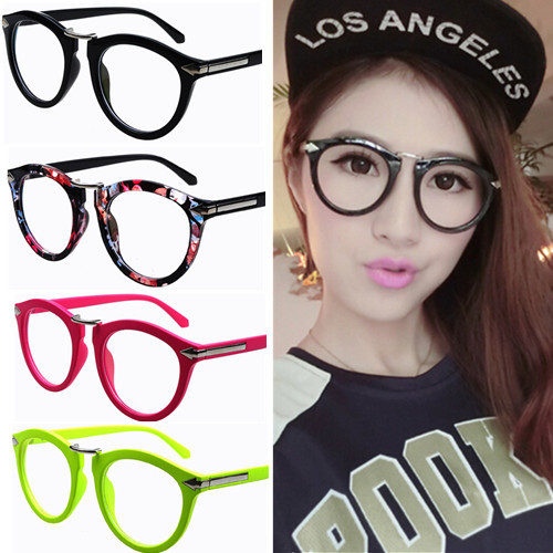 Women Men Hip-hop stylish trendy solid color round eyeglasses frame vintage retro frames Spectacles