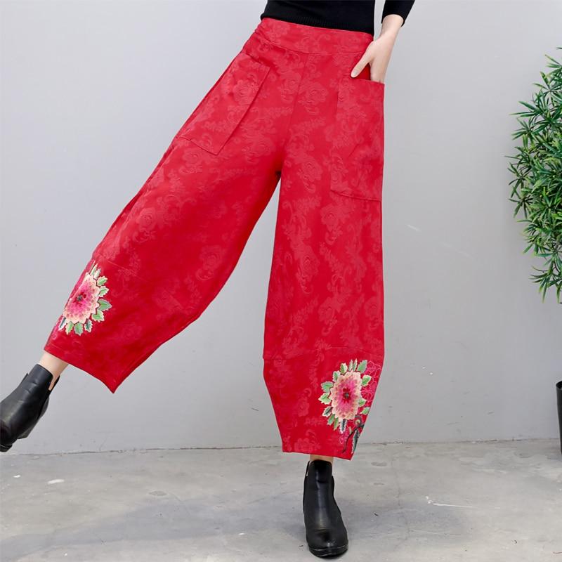 Women   Wide     Leg     Pants   2019 Autumn Vintage Floral Embroidery Elastic Waist Ladies   Pants   Casual Loose Trousers Female Bottoms