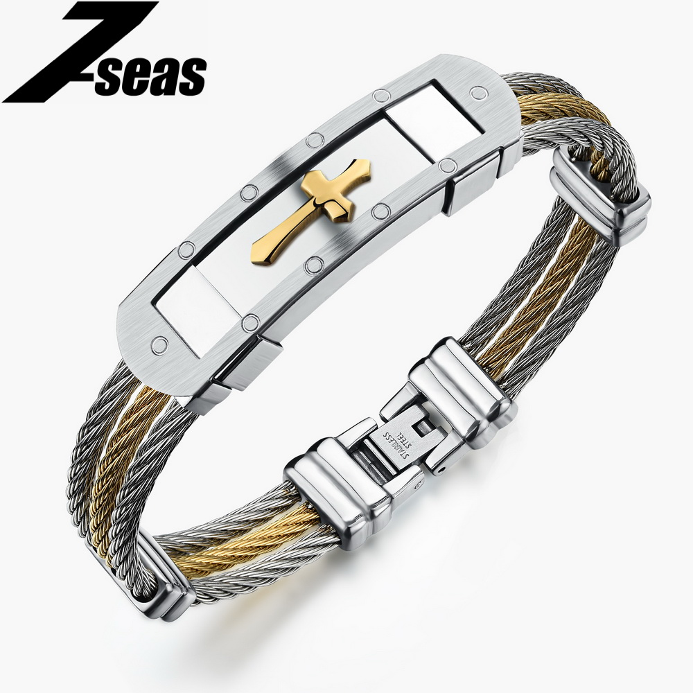 7seas Religious Cross Men Bracelets Gold Silver Color Stainless Steel Jewelry Best Gift For Christmas Pulseras Hombre Jm782 In Id From