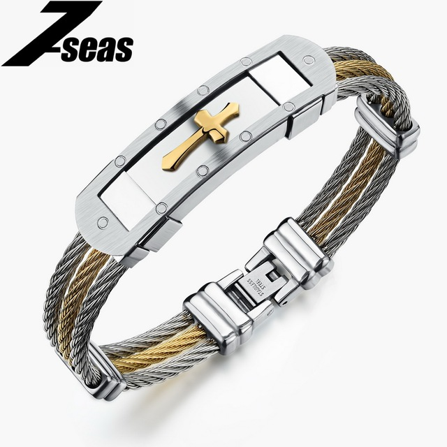 7seas Religious Cross Men Bracelets Gold Silver Color Stainless Steel Jewelry Best Gift For