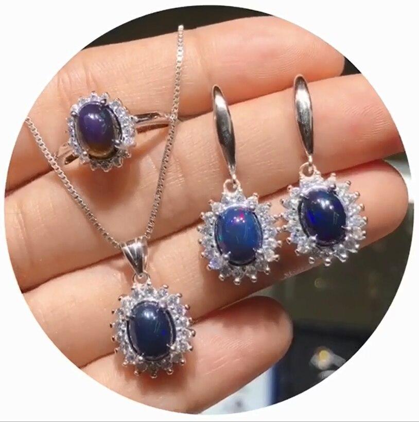 Bijoux en argent 925 bijoux en argent multiples couleurs femmes opale naturelle bijoux fiançailles ensembles de mariage sans chaîne