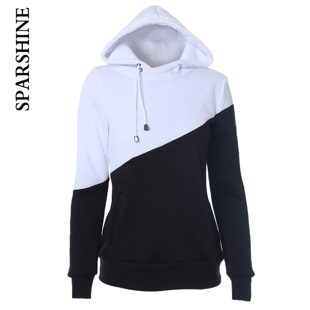 2016 Women's European and American Hooded Mixed Colors Black And White Hooded Drawstring Hoody