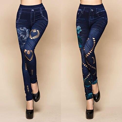 Skinny Jeans Leggings Elastic-Pants Flower-Print Sexy Women's Denim Hollow Cut Newest