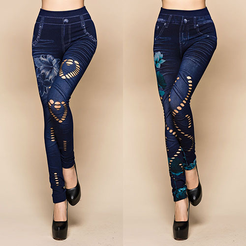 2016 Newest Women's Sexy Hollow Cut Elastic Pants Flower Print Skinny Jeans Denim Leggings