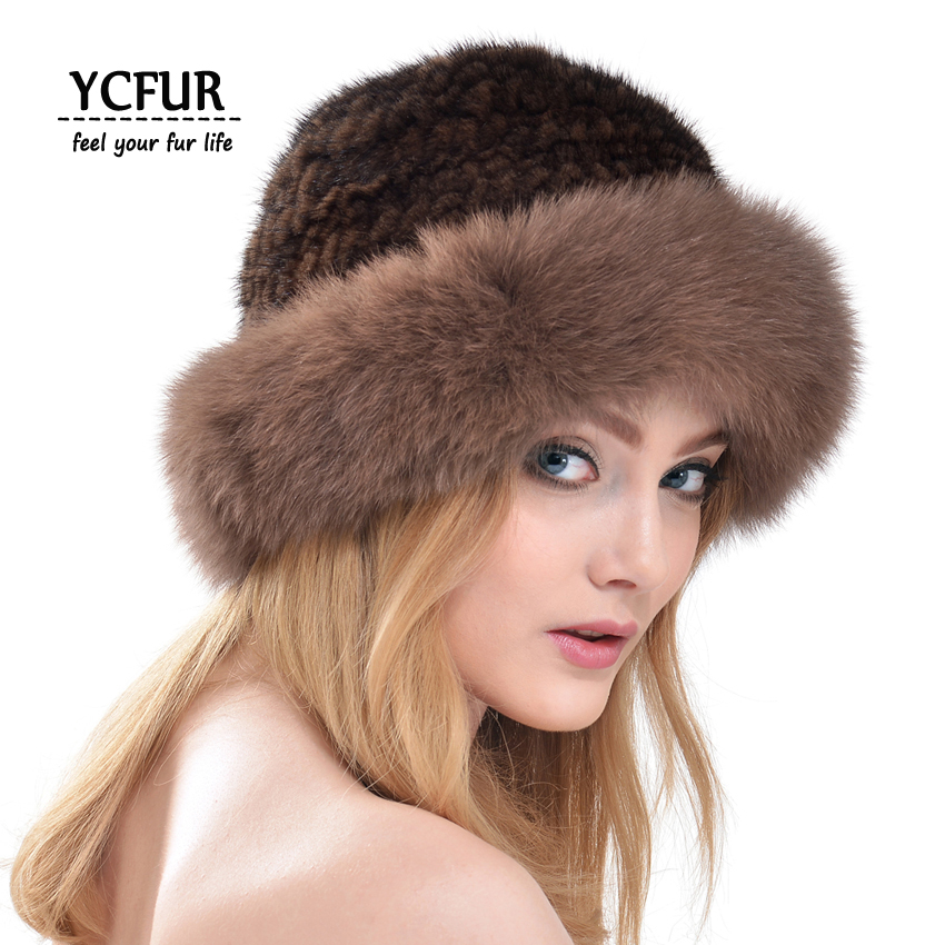 ФОТО YCFUR Women Fur Caps Winter Genuine Knitted Mink Fur Hats Fox Fur Trims Warm Winter Real Mink Fur Beanies Hats Winter YH179