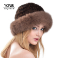 YCFUR Women Fur Caps Winter Genuine Knitted Mink Fur Hats Fox Fur Trims Warm Winter Real Mink Fur Beanies Hats Winter YH179