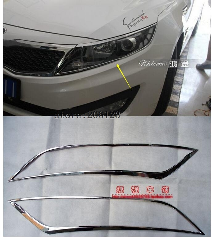 Free shipping 2011-2013  for KIA Optima/K5 ABS Chrome Front headlight Lamp Cover free shipping oem part for kia optima k5 fog lamp set light set 2011 2013