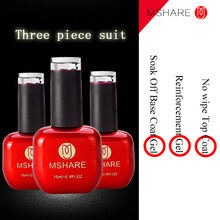 MSHARE 15ML Reinforcement Gel + Wipe Top Coat Gel + Base Coat Gel Manicure Nail Polish Lacquer Germany Health Resin Material