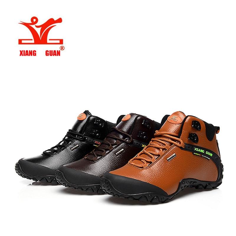 ФОТО 2016 XIANGGUAN Man outdoor sneaker Hiking shoes climbing High Leather mountain sport trekking tourism boots botas waterproof