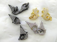 6sets Micro Pave Stone Enhancer Clasp 18 25mm Large CZ Clasp Pave Lobster Clasp Lobster Closure