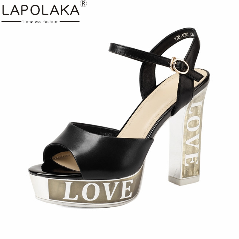 LAPOLAKA New Genuine Leather Ankle Strap Solid Square High Heels Platform Shoes Woman Casual Summer Sandals Black Size 34-39 lapolaka new women s genuine leather square med heels ankle strap solid shoes woman casual summer sandals big size 33 40