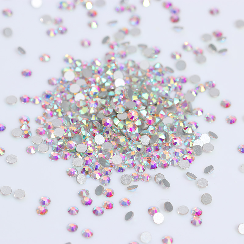 Mix Sizes 1440PCS/Pack Crystal Clear AB Non Hotfix Flatback Rhinestones Nail Rhinestones For Nails 3D Nail Art Decoration Gems super shiny 1440pcs ss16 3 8 4mm clear ab glitter non hotfix crystal ab color 3d nail art decorations flatback rhinestones 16ss