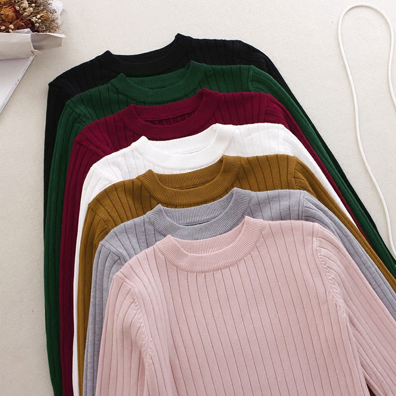 Winter Thick Women Sweater Pullover Basic Rib Knitted Cotton Tops Solid Crew Neck Essential Jumper Long Sleeve Sweaters Pull