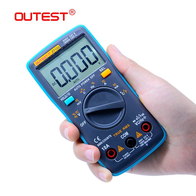 Digital Multimeter ZT102 6000 Counts Backlight AC/DC Ammeter Voltmeter Ohm Portable Tester Multimeter Pocket Voltage Meter aneng an8201 pocket size mini digital multimeter backlight ac dc ammeter voltmeter ohm electrical tester portable 1999 counts