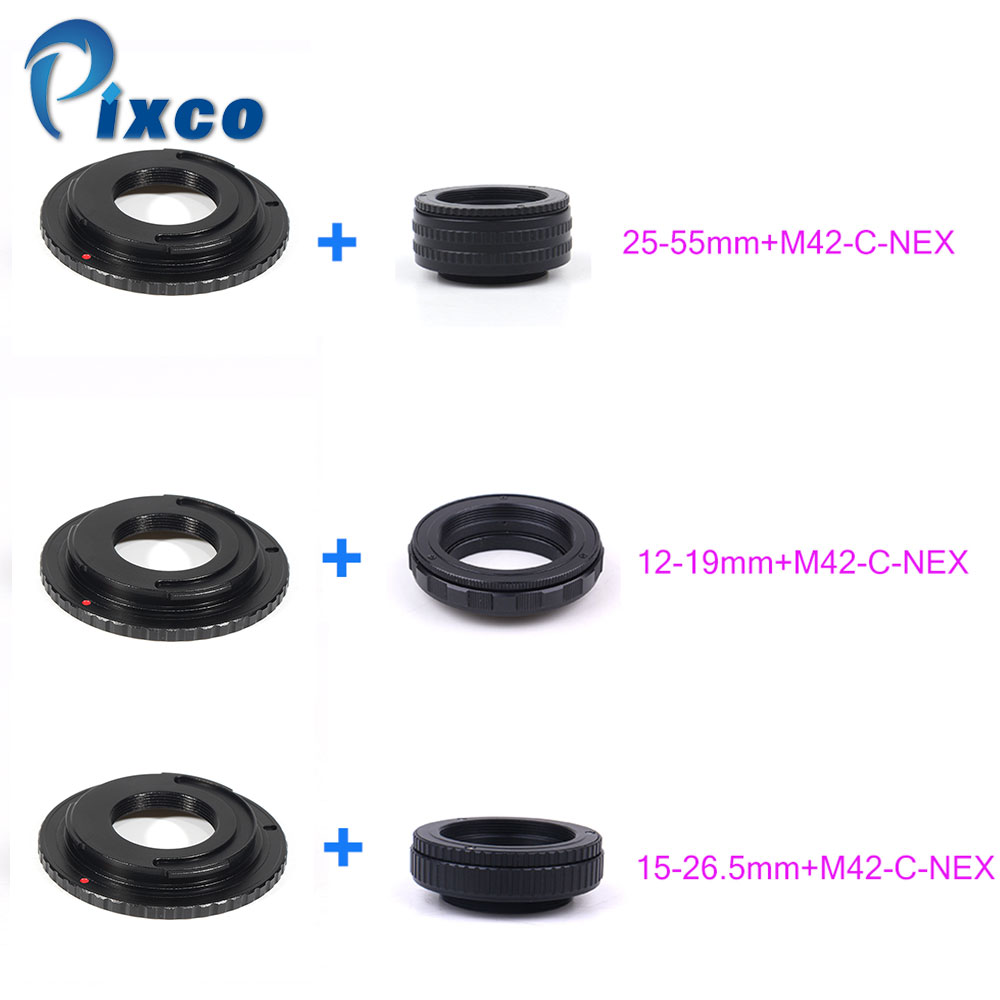 M42 Lens Adjustable Focusing Helicoid Macro Tube Adapter 25-55mm/12-19mm/15-26.5m + Lens Adapter M42 /C Mount Lens To NEX Camera