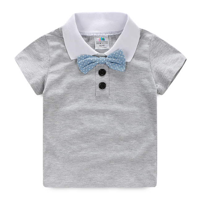 Boys tshirt Gentleman Tie Kids T Shirt Boy Summer Short Sleeve Solid Baby tshirt Fashion Children Clothing 2356