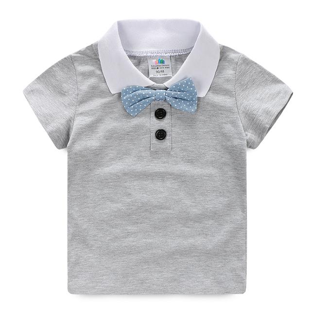 Meninos Tshirt Cavalheiro Laço T Camisa Dos Miúdos de Manga Curta Menino de Verão Sólida Tshirt Do Bebê Crianças Vestuário de Moda 2356