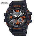 2017 New SPORTIMES Men And Women Watches With Dual Display Stop Watch Alarm Chronograph For Military Sports Relogio Masculino