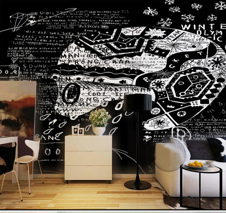 Custom mural  Black white abstract wall painting living room Cafe tea shop bedroom bar background retro graffiti wallpaper mural custom baby wallpaper snow white and the seven dwarfs bedroom for the children s room mural backdrop stereoscopic 3d