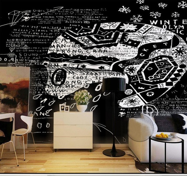 Custom Mural Black White Abstract Wall Painting Living Room Cafe Tea Shop Bedroom Bar Background Retro