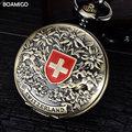 FOB мужчины карманные часы мода механические часы BOAMIGO бренд Vingtage ШВЕЙЦАРИЯ Бронза Медь Тон скелет цепи часы