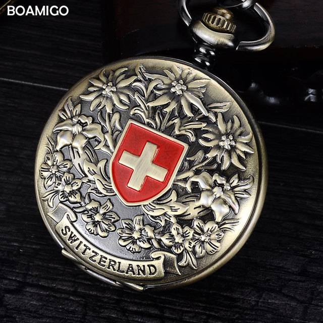 FOB men pocket watches fashion mechanical watches BOAMIGO brand Vingtage SWITZERLAND Bronze Copper Tone skeleton chain watches