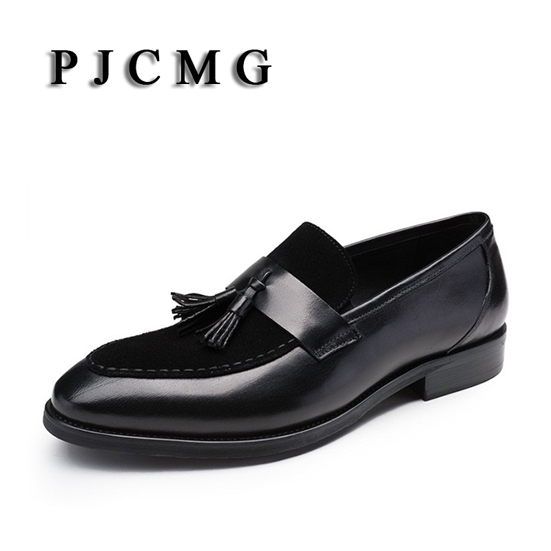 PJCMG New Luxury Breathable Black/Red Dress Genuine Formal Leather Pointed Toe Slip-On Wedding Business Office Shoes pjcmg new black red mens oxfords crocodile pattern slip on pointed toe genuine leather business formal men wedding shoes