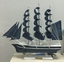 35cm Wooden Ship Model 2015 Miniatur Marine Wood Boat Blue Sailing Nautical Decor Home Crafts