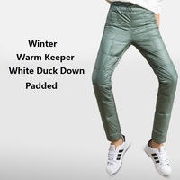 Winter Women Double Face Down Padded Pencil Pants Woman Slim Elastic Waist Thick Winter Pants Lady 80% Duck Down Trousers PT 150
