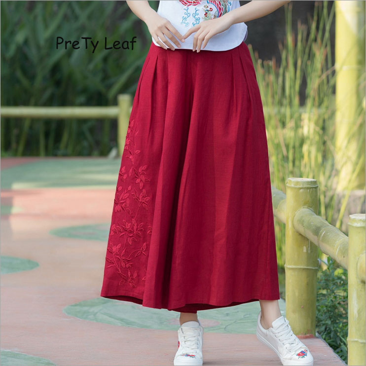 2018 new national wind cotton embroidery   wide     leg     pants