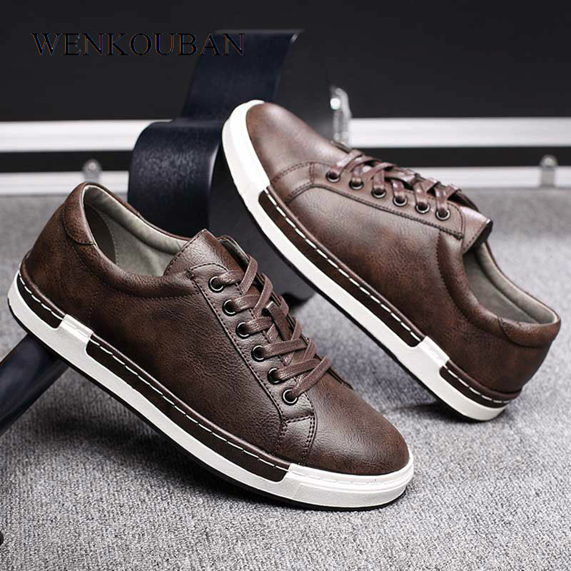 Men Vulcanized Shoes Breathable Sneakers Male Leather Flats Vintage Men Casual Trainers Lace Up Outdoor Sneakers Tenis Masculino(China)